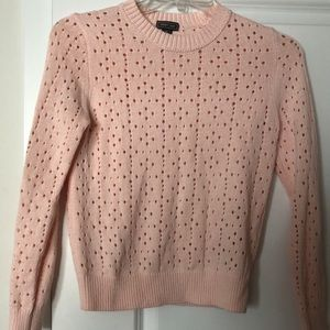 Pink, hole patterned sweater